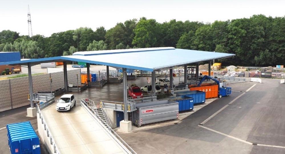 Duitsland Paderborn nieuwe milieustraat ecogranulaat verhoogd bordes verhoogd grondgebruik Modulo Milieustraten VSK NEWS VKU Care4Circulair